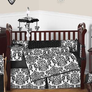 Black and White Isabella Girls Baby Bedding   9 pc Crib Set only