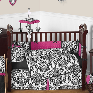 Hot Pink Black And White Isabella Girls Baby Bedding 9 Pc Crib