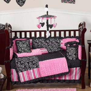 Pink And Black Madison Girls Boutique Baby Bedding 9 Pc Crib Set