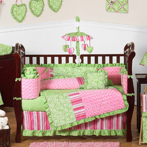 Olivia Girls Boutique Pink And Green Baby Bedding 9pc
