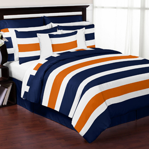 gray and orange stripe 3pc teen full queen bedding set only. Black Bedroom Furniture Sets. Home Design Ideas