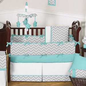 Turquoise And Gray Chevron Zig Zag Baby Bedding 9 Pc Crib Set By Sweet Jojo Designs Only 189 99