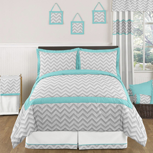 Turquoise And Gray Chevron Zig Zag Childrens And Kids Bedding 3pc Full Qu